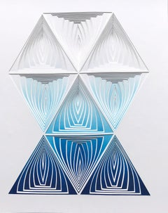 Freehand Cut with Surgical Scalpel, Silk-Screened: 'Blue Blend Triangle '