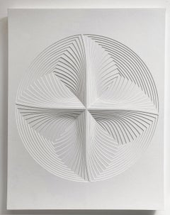 """Circle Four Piece"", Free Hand Cut Paper Wall Relief Sculpture, Abstract, White"