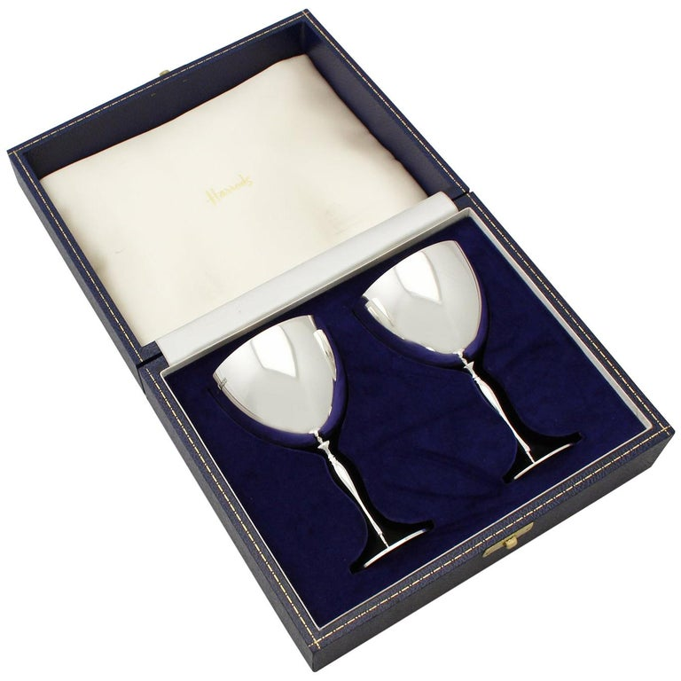 Elizabeth II Pair of Sterling Silver Goblets For Sale