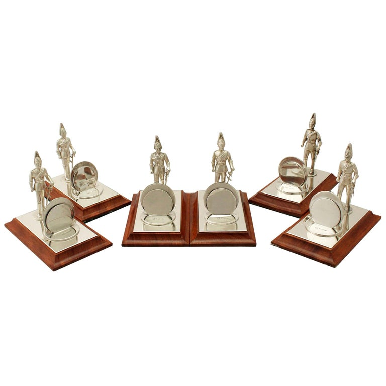 Elizabeth II Set of Six Sterling Silver Menu Holders For Sale