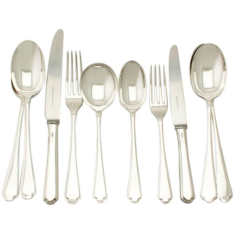 Elizabeth II Sterling Silver Canteen of Cutlery for Eight Persons For Sale