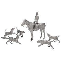 Elizabeth II Sterling Silver Model of a Huntsman & Hounds by I. Franks