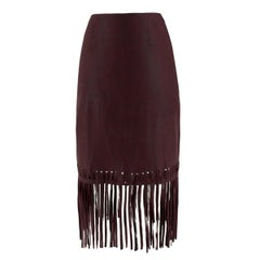 Elizabeth & James Jaxson Burgundy Leather Pencil Skirt US 0