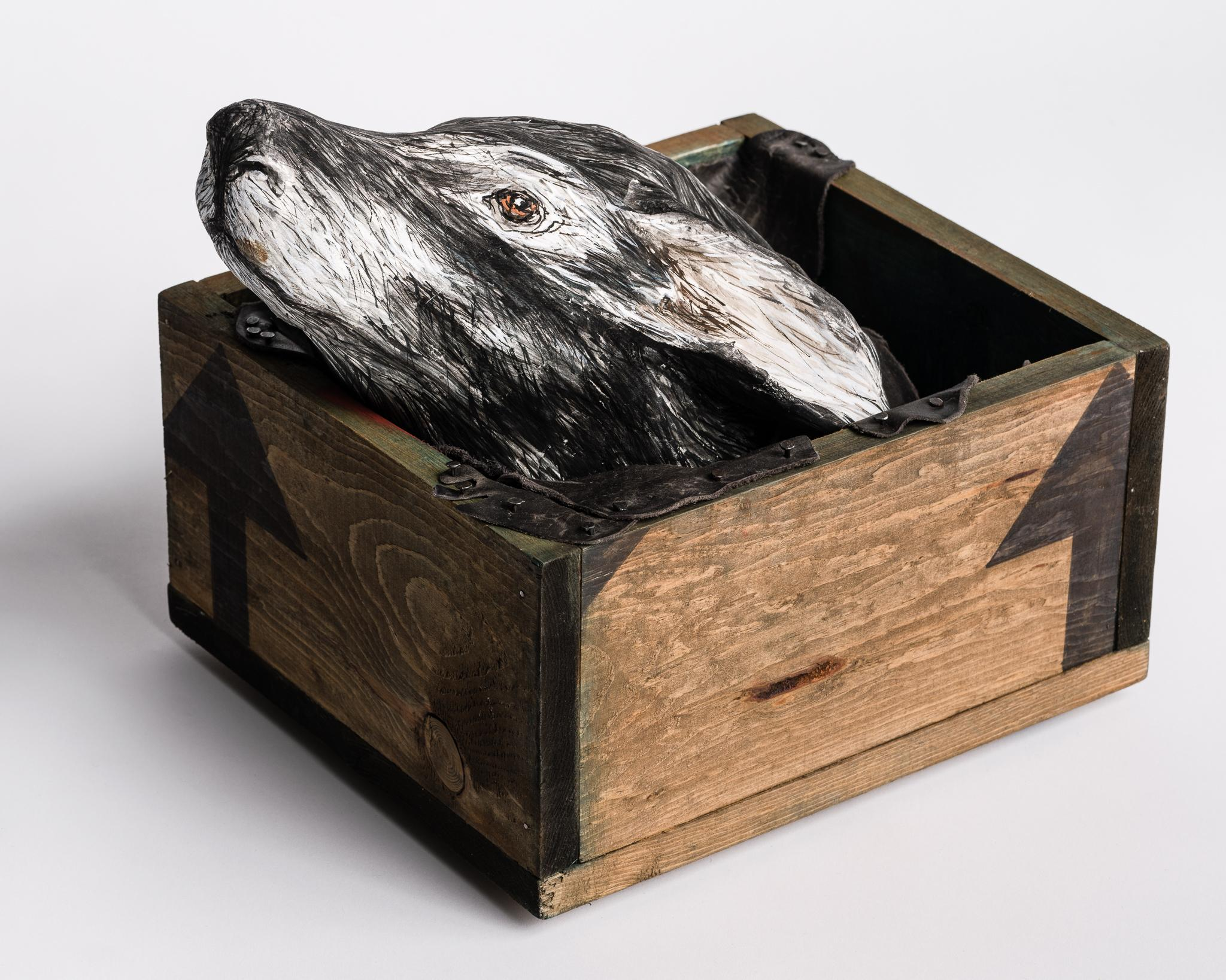 Sculpture of Deer head in wood box: 'Free me from the earth'