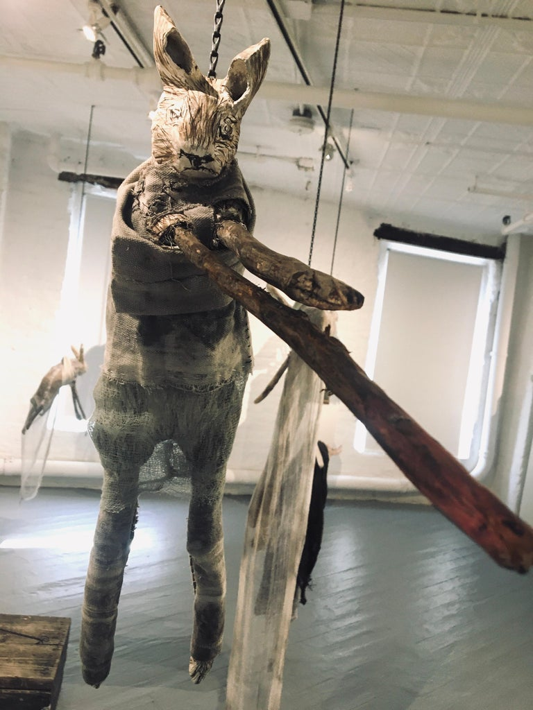 Sculpture of hare hanging from chain: 'Children 10' For Sale 2