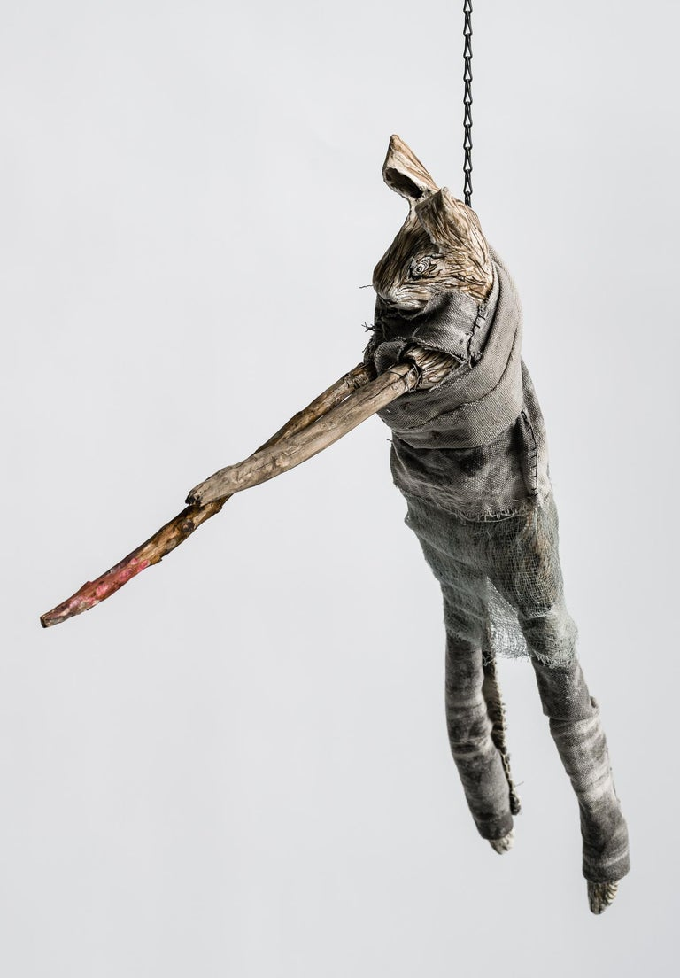 Sculpture of hare hanging from chain: 'Children 10' - Mixed Media Art by Elizabeth Jordan