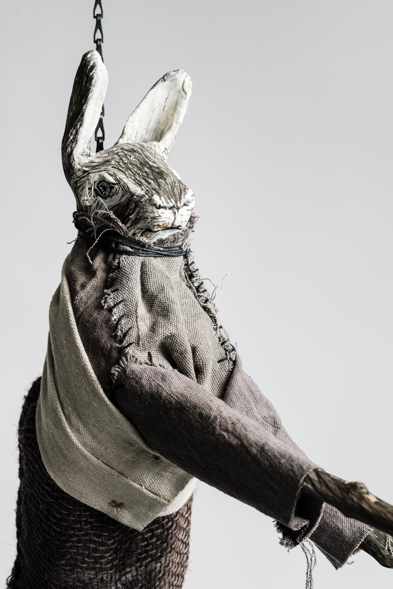 Sculpture of hare hanging from chain: 'Children 2' - Contemporary Mixed Media Art by Elizabeth Jordan