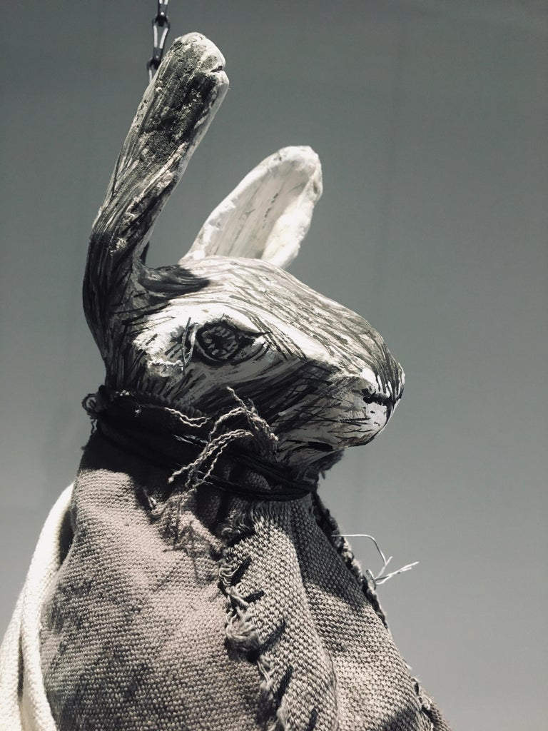 Sculpture of hare hanging from chain: 'Children 2' For Sale 1
