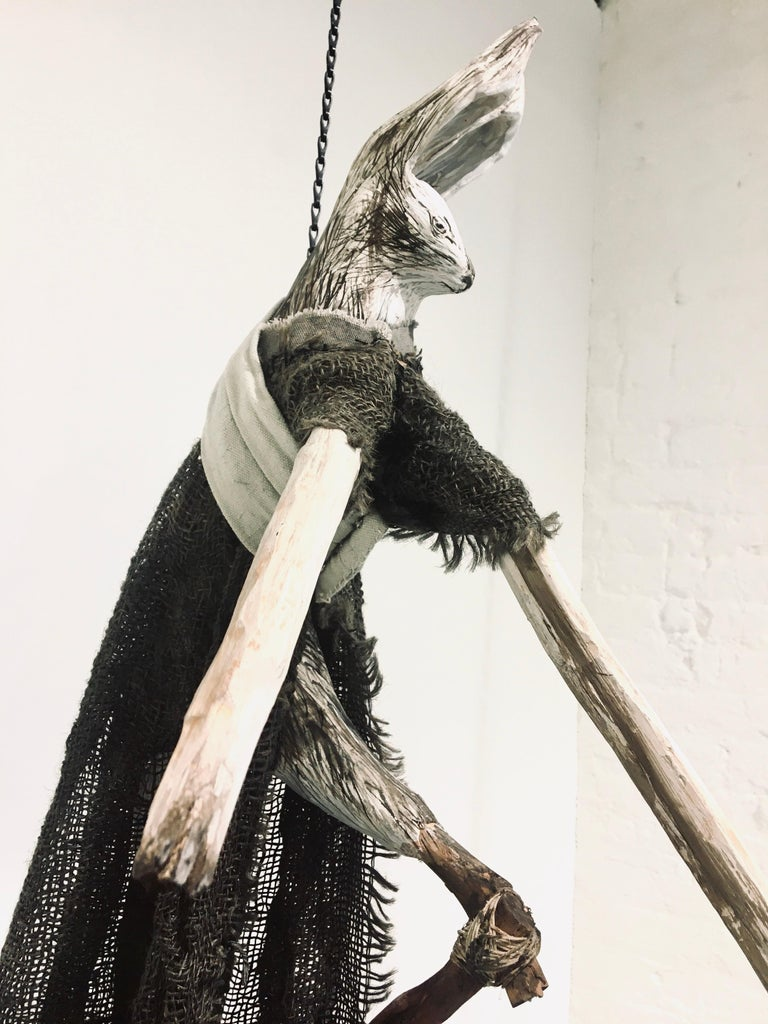 Sculpture of hare hanging from chain: 'Children 3' For Sale 1