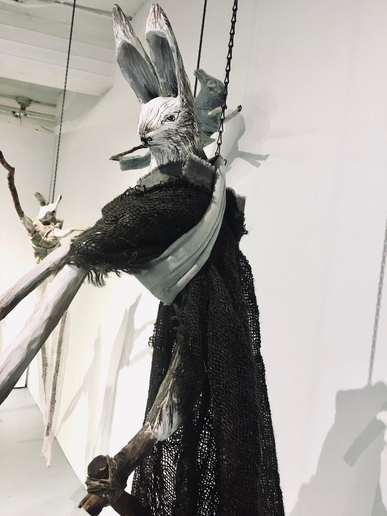 Sculpture of hare hanging from chain: 'Children 3' For Sale 2