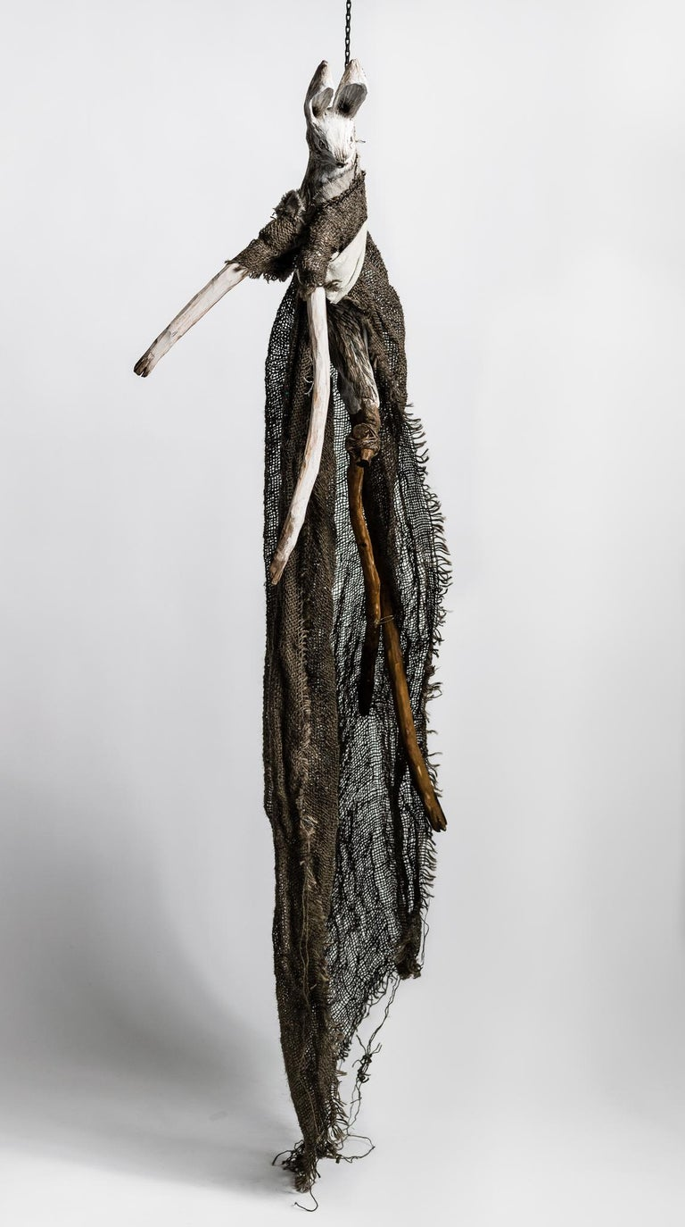 Elizabeth Jordan Figurative Sculpture - Sculpture of hare hanging from chain: 'Children 3'