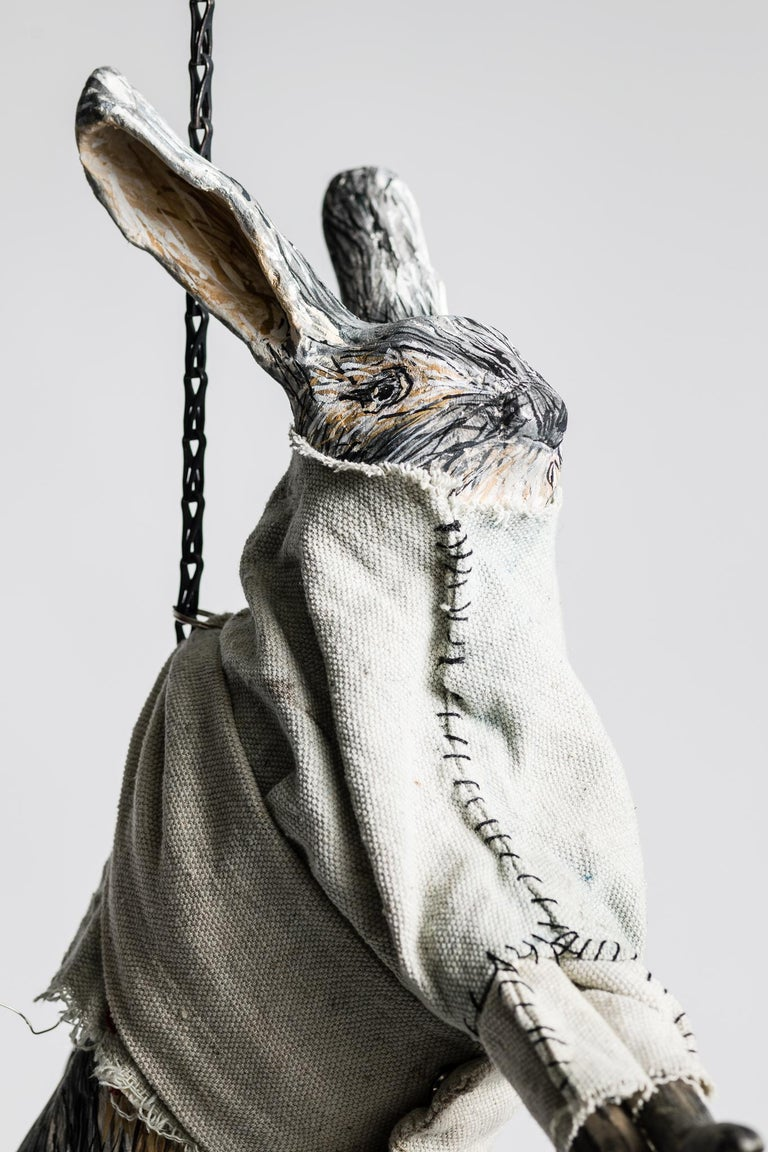 Sculpture of hare hanging from chain: 'Children 4' - Contemporary Mixed Media Art by Elizabeth Jordan