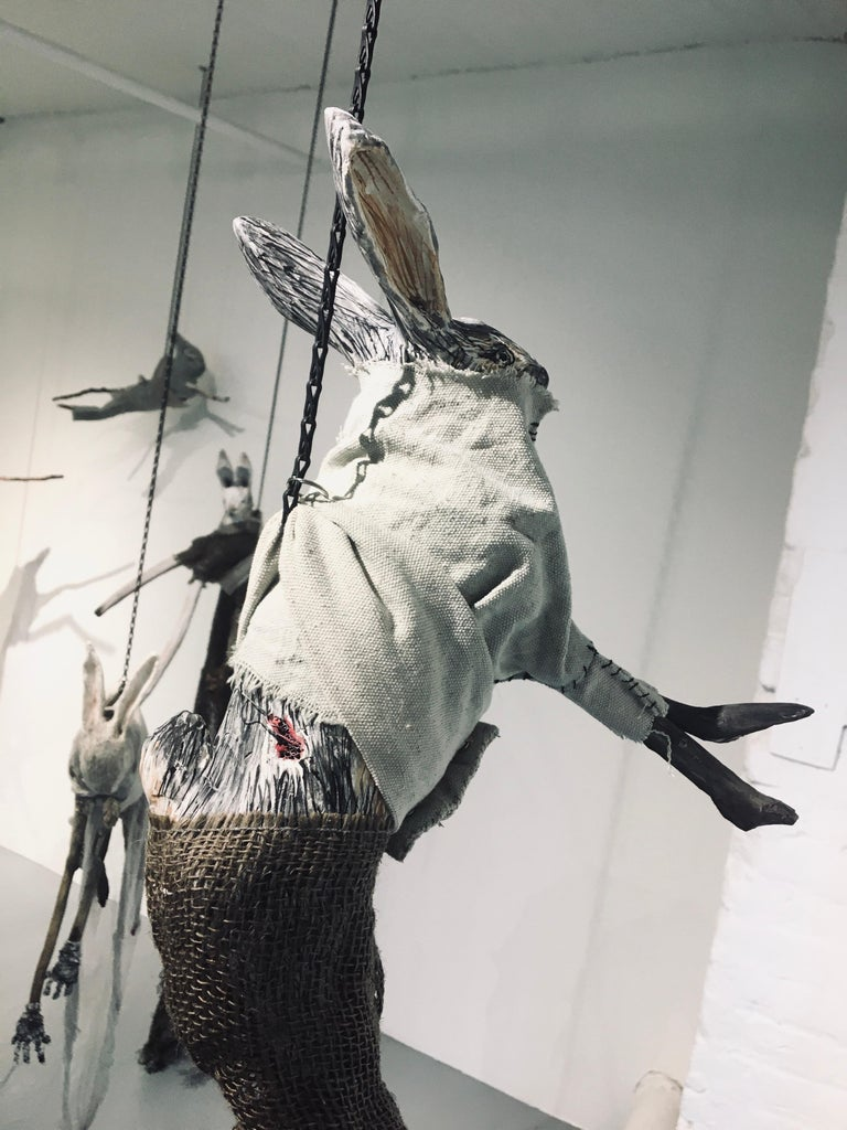 Sculpture of hare hanging from chain: 'Children 4' For Sale 1