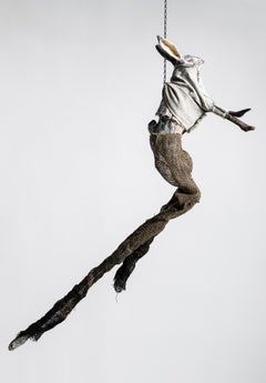 Sculpture of hare hanging from chain: 'Children 4'