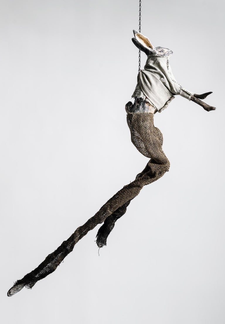 Sculpture of hare hanging from chain: 'Children 4' - Mixed Media Art by Elizabeth Jordan