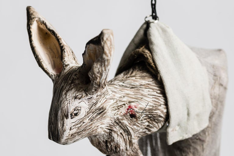Sculpture of hare hanging from chain: 'Children 6' - Contemporary Mixed Media Art by Elizabeth Jordan