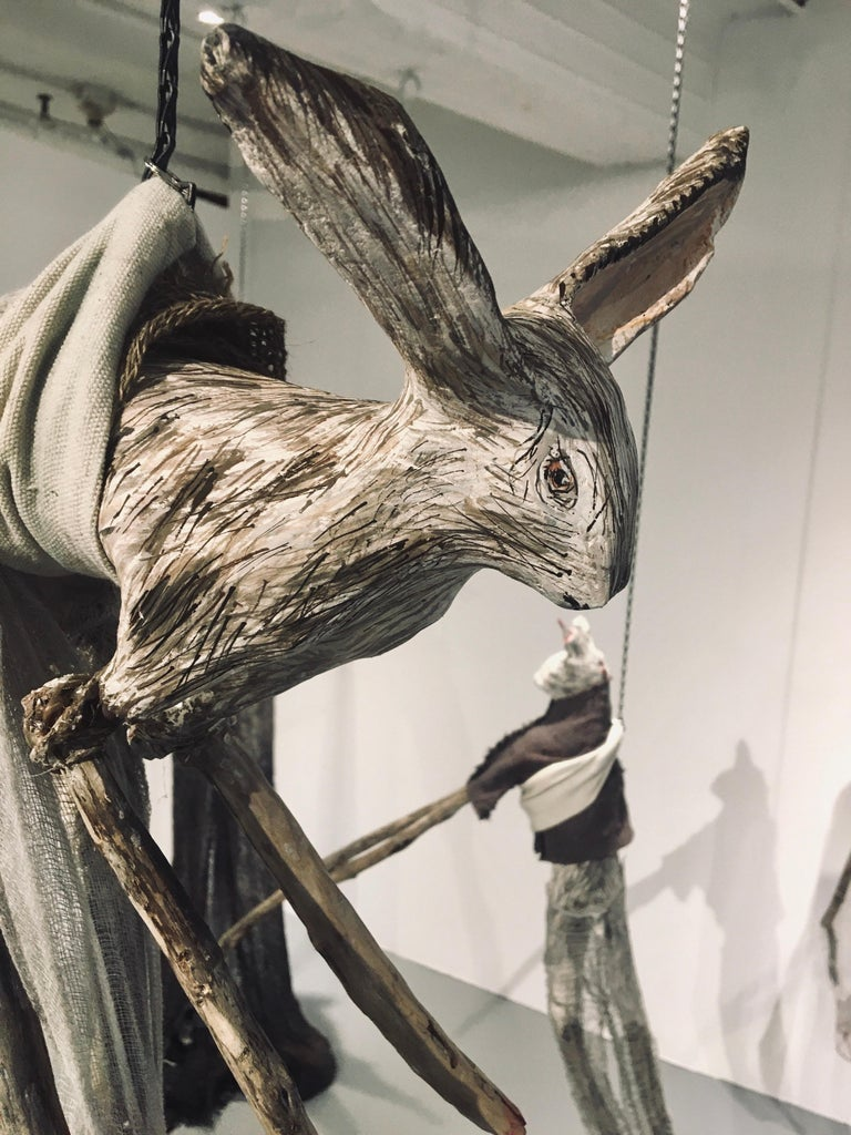 Sculpture of hare hanging from chain: 'Children 6' For Sale 2