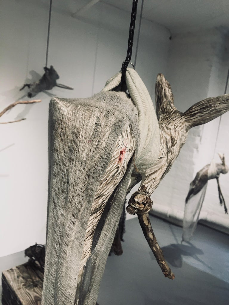 Sculpture of hare hanging from chain: 'Children 6' For Sale 3