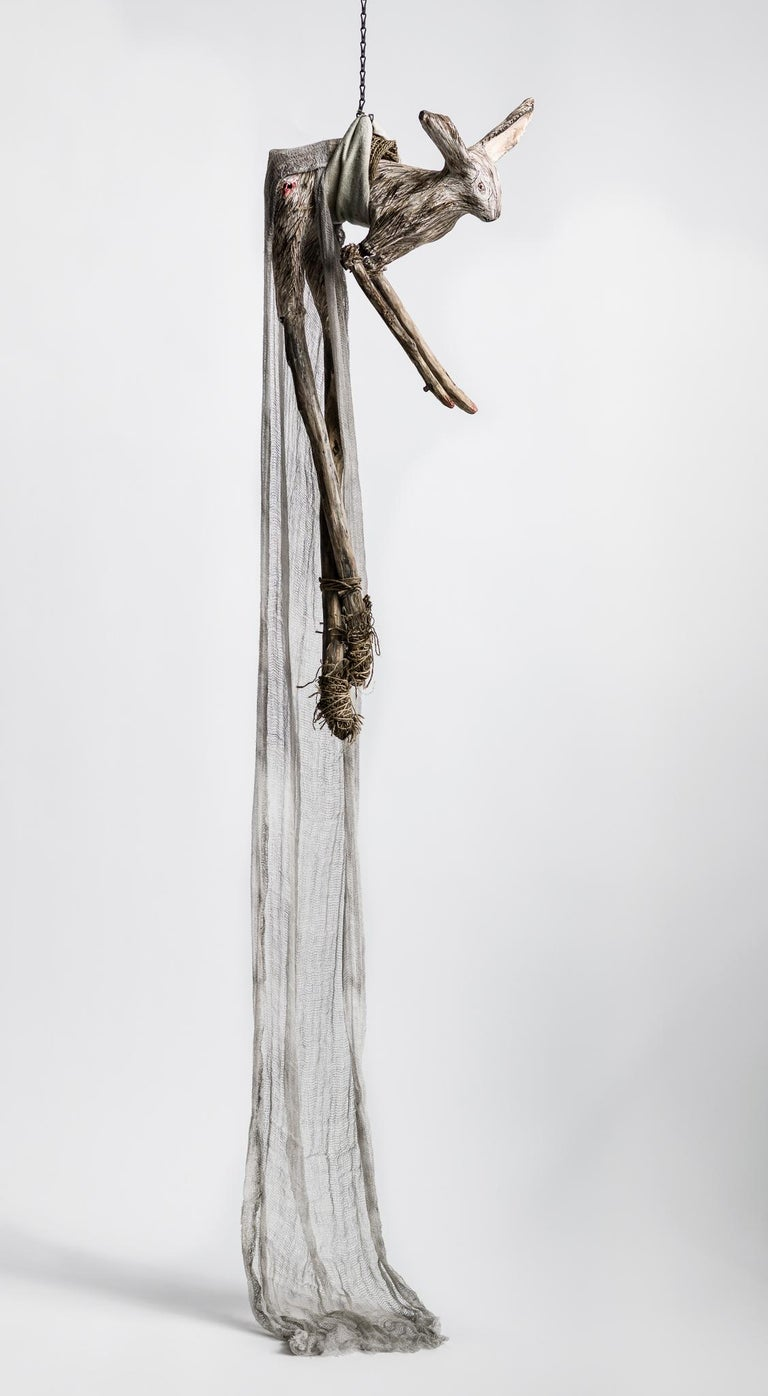 Sculpture of hare hanging from chain: 'Children 6' - Mixed Media Art by Elizabeth Jordan