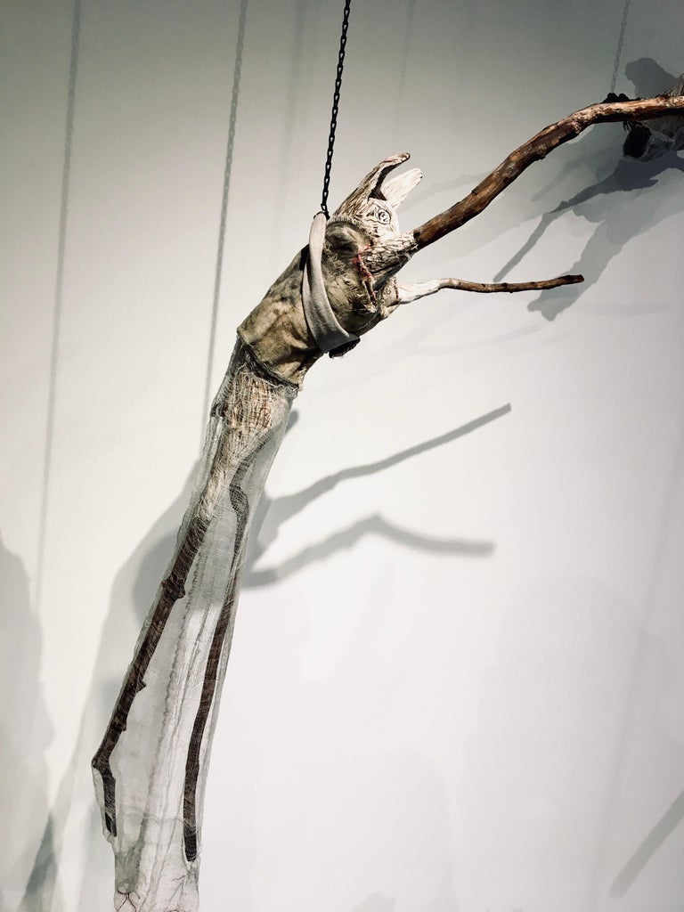Sculpture of hare hanging from chain: 'Children 7' For Sale 2