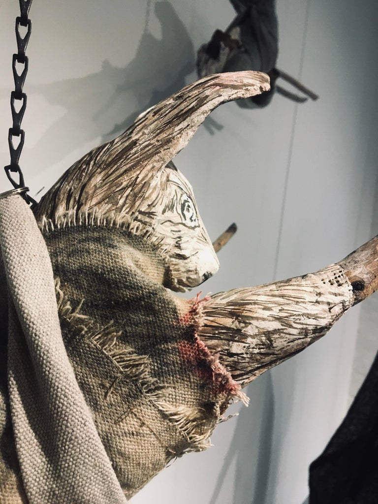 Sculpture of hare hanging from chain: 'Children 7' For Sale 6