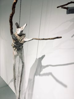 Sculpture of hare hanging from chain: 'Children 7'