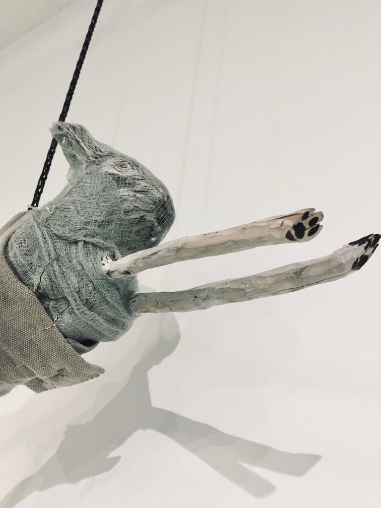 Sculpture of hare hanging from chain: 'Children 9' For Sale 1