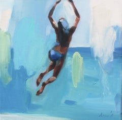 """""""Azure Sea"""" oil painting of girl jumping into the water with hands up, back view"""
