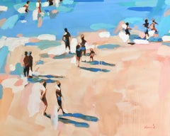 """Beachlife 30"" abstract oil painting of figures on the beach by the blue shore"
