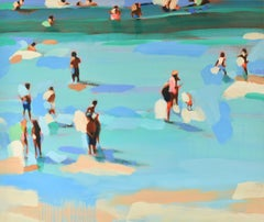 """Beachlife 33"" Abstract oil painting of people at the shore in blues and greens"