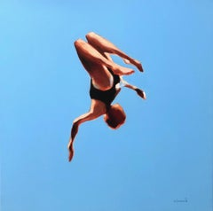 """Blue Skies 1"" oil painting of a girl flipping in the air with blue sky behind"