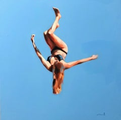 """Blue Skies 3"" oil painting of a girl flipping in the air with blue sky behind"