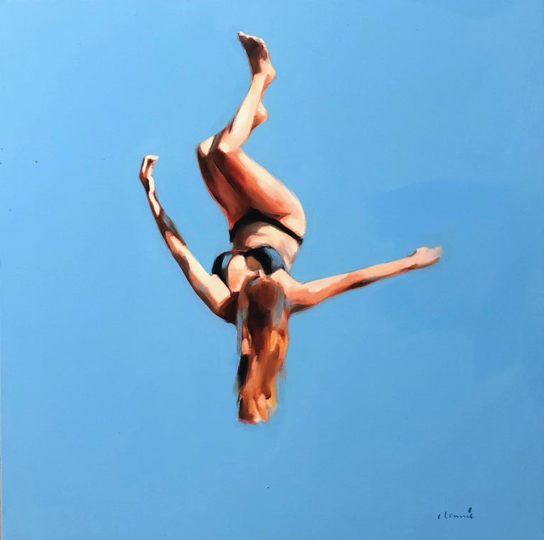 """Elizabeth Lennie Figurative Painting - """"Blue Skies 3"""" oil painting of a girl flipping in the air with blue sky behind"""