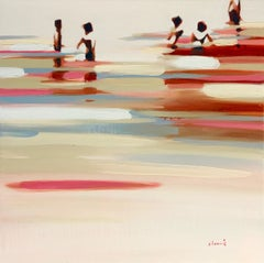 """Deep Summer Revisited"" Abstract oil painting of figures in the water"