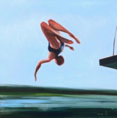 """Freestyle 2"" oil painting of a girl flipping off a diving board into water"