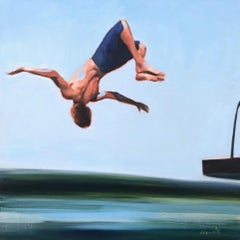 """Freestyle"" oil painting of a boy flipping of a diving board into water"