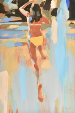 """Golden Girl"" Oil painting of a girl in a yellow bikini jumping into water"