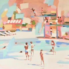 """How To Do a Fly Dive"" Abstract oil painting of people at pool in pastel colors"
