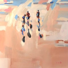 """Low Tide"" Painterly Depiction of People Walking on Beach"
