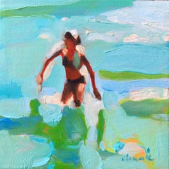''Mythography 137'' abstract oil painting of women in a blue and green ocean