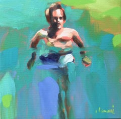"""""""Mythography 140"""" oil painting of a man swimming in green and blue water"""