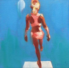 """""""Mythography 168"""" oil painting of a girl in pink bikini with blue background"""