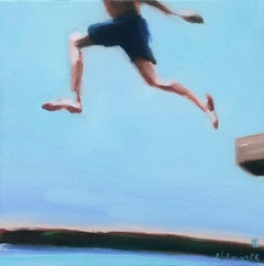 """""""Mythography 178"""" oil painting of boy running in blue swim trunks, blue sky"""