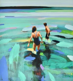 """""""Northern Waters"""" Oil painting of a couple wading in blue and green water"""