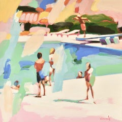 """Once Upon a Time"" Abstract oil painting of people at pool in green, blue, pink"