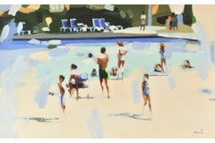 """Resort Life"" Abstract oil painting of people at pool in neutrals and blues"