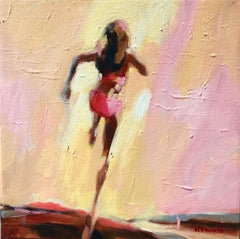 ''Restless Heart'' Abstract oil painting of a women running in pink bikini