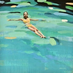 """""""Sophie"""" Abstract oil painting of a woman floating in green water"""