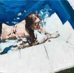 """""""Study for Michaela's Pool"""" oil painting of a woman in the pool with sunglasses"""