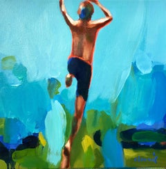 """Summer 2019-3"" oil painting of a boy jumping with blue/green background"